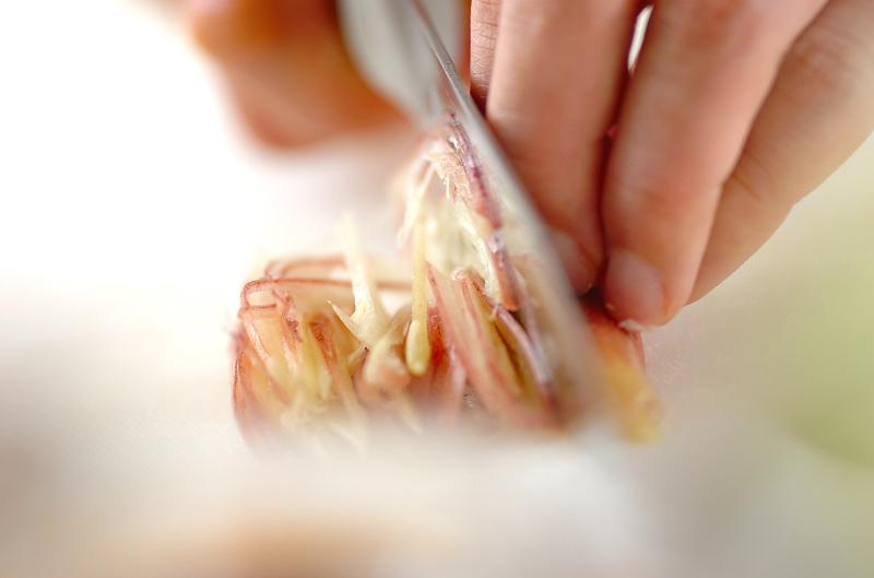 ナスとミョウガのみそ汁の作り方の手順3