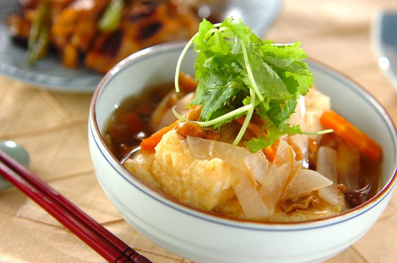 ナメコあんかけ揚げ出し豆腐