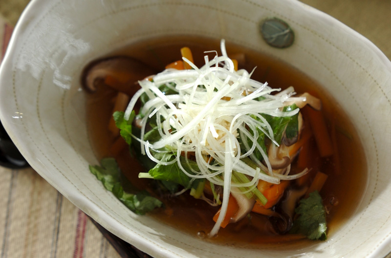 揚げ出し豆腐の野菜あんかけ