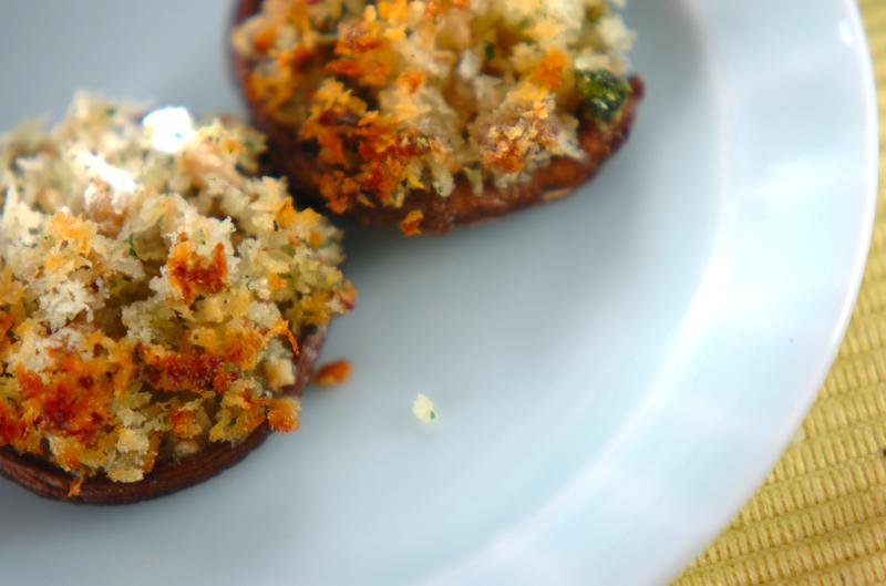 シイタケのパン粉焼き