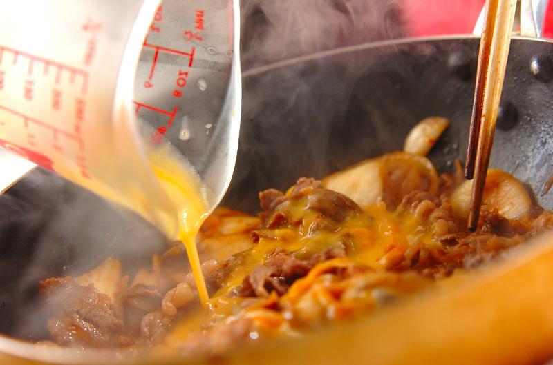 牛肉とキムチの卵とじの作り方3