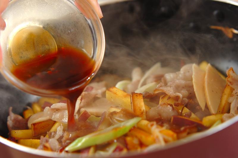 サツマイモと豚肉の中華炒めの作り方の手順3