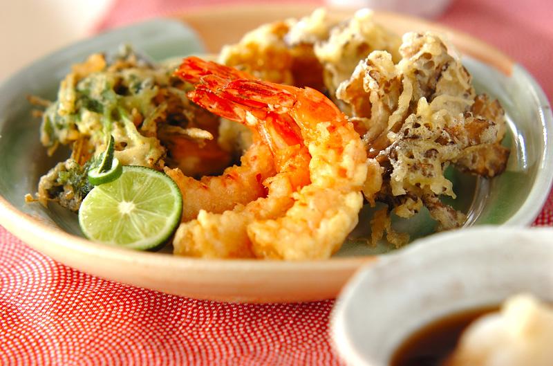 エビとマイタケの天ぷらの作り方の手順