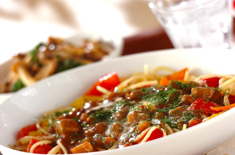 野菜炒めカレースパゲティ