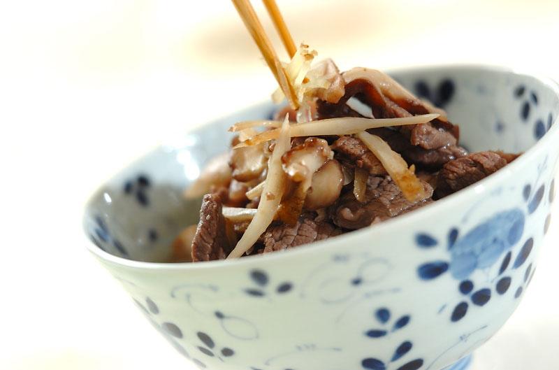 キノコとゴボウ、牛肉のしぐれ煮の作り方の手順4