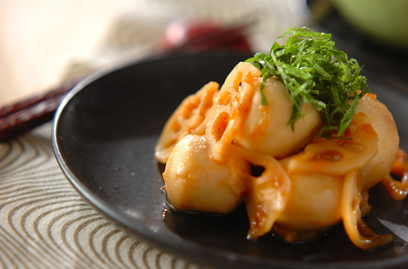里芋とレンコンの梅肉和えの作り方の手順