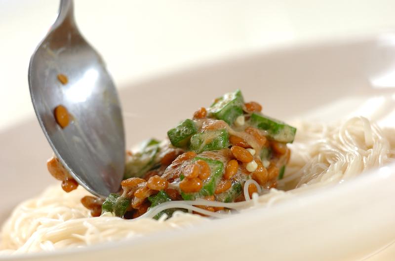 ネバネバ!さっぱりオクラ納豆のぶっかけ素麺の作り方の手順4
