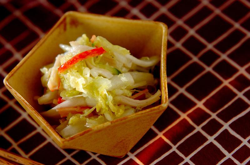 白菜とカニカマの甘酢和えの作り方の手順