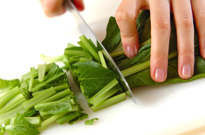 小松菜のマッシュルーム炒めの下準備1