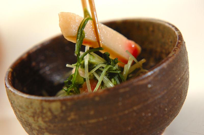 水菜とショウガ天のサッと煮の作り方の手順4