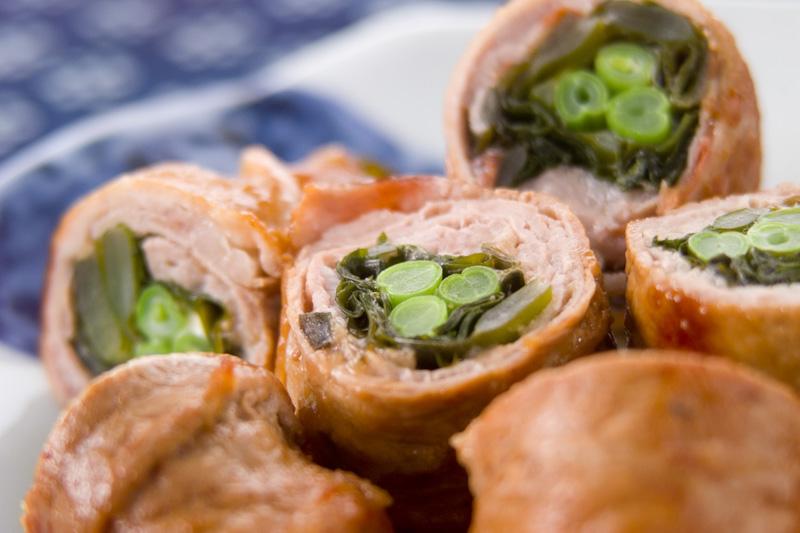 生ワカメの豚肉巻きの作り方の手順