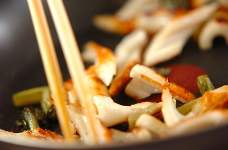 ちくわと野沢菜の炒め物の作り方の手順3