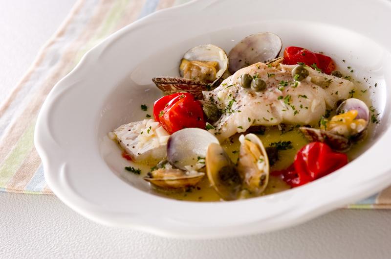 白身魚のアサリ煮