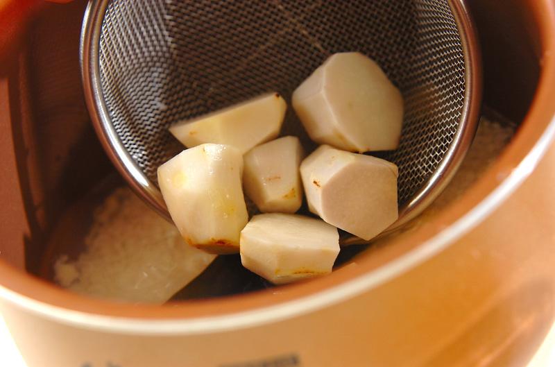 里芋とホタテの炊き込みご飯の作り方の手順4