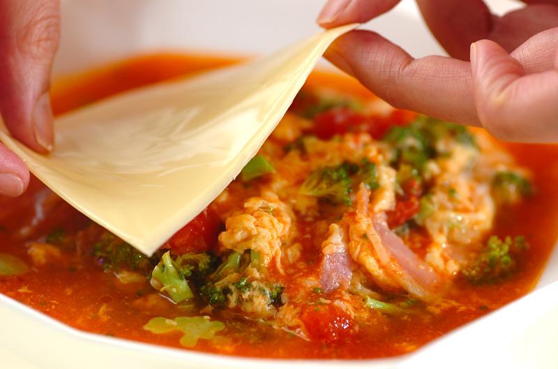 トマトチーズのスープご飯の作り方の手順6