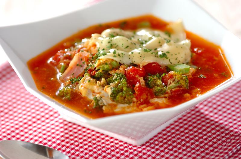 トマトチーズのスープご飯の作り方の手順