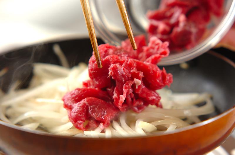 玉ネギと牛肉の甘辛炒めの作り方の手順4