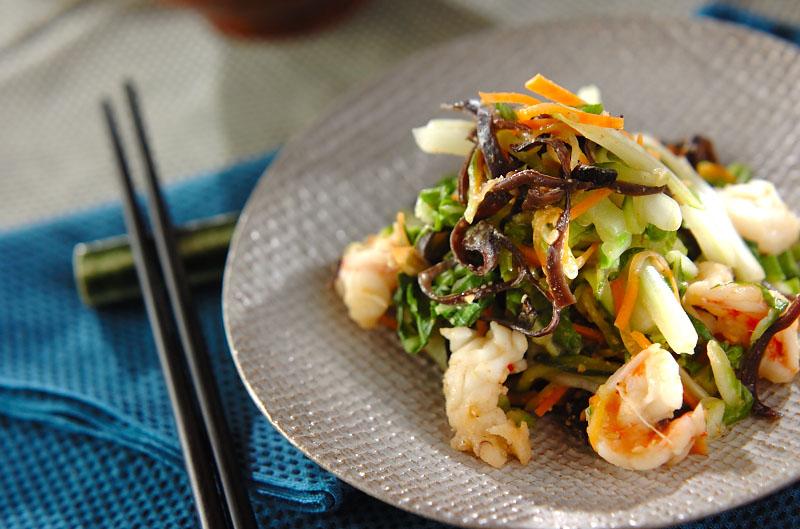 エビ入り白菜の甘酢和えの作り方の手順