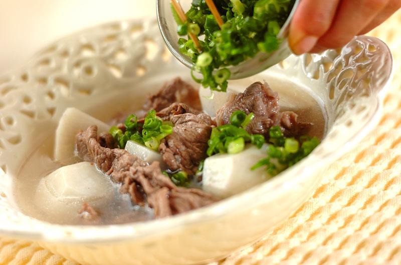 里芋と牛肉のスープの作り方の手順3