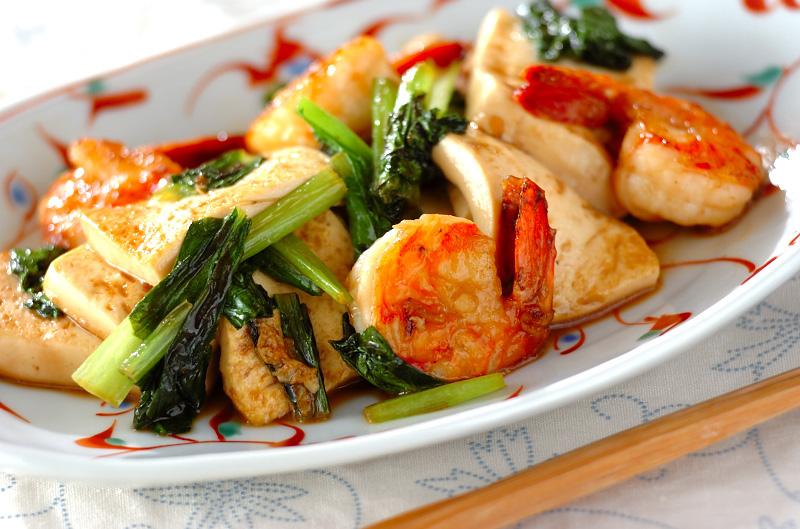 エビと豆腐のショウガ炒めの作り方の手順