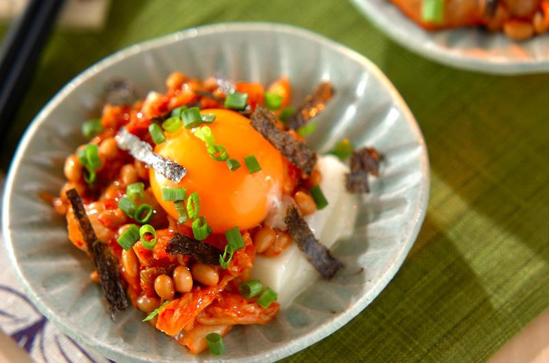 キムチと納豆のからみ餅