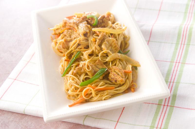 素麺のカレー炒めの作り方の手順