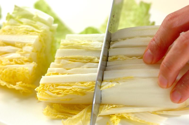白菜と豚バラ肉の蒸し煮の作り方の手順1
