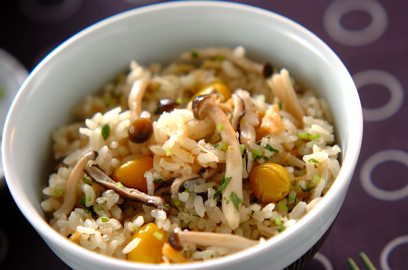 秋の炊き込みご飯の作り方の手順