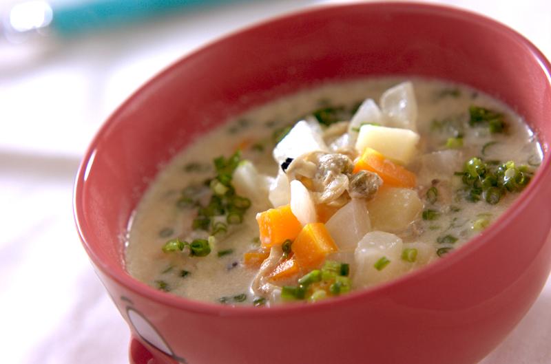 アサリ缶の豆乳スープ煮の作り方の手順