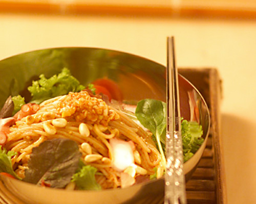 ハーブとタコのビビン冷麺の作り方の手順