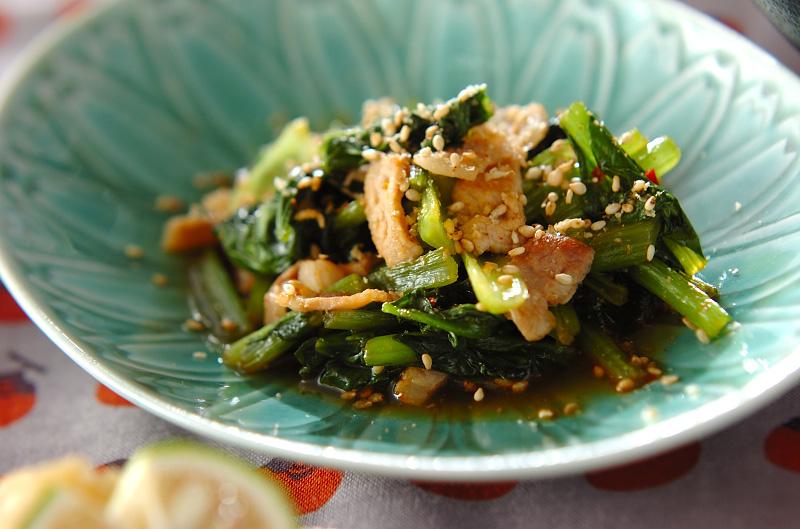 小松菜と豚肉のピリ辛炒めの作り方の手順
