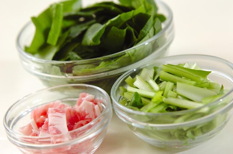 小松菜と豚肉のピリ辛炒めの作り方の手順1