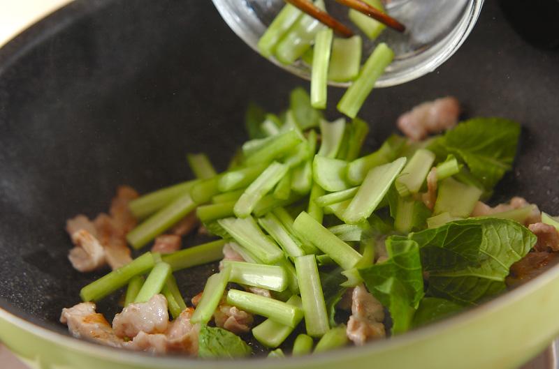 小松菜と豚肉のピリ辛炒めの作り方の手順4