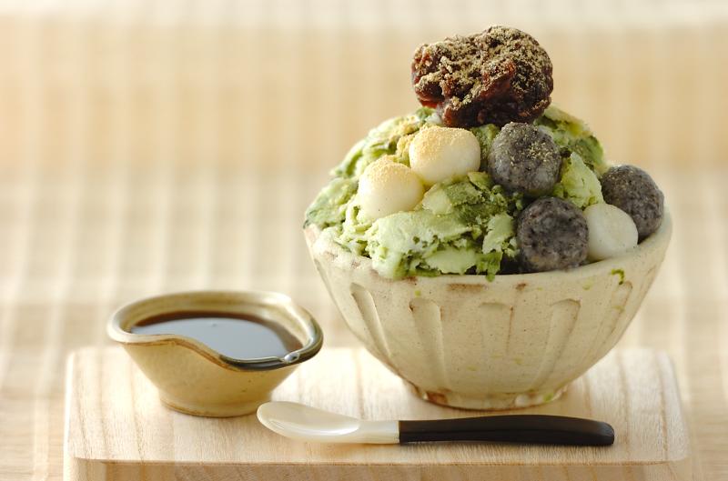 抹茶白玉味の台湾風かき氷