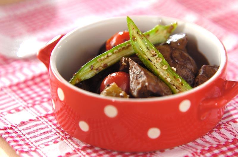 レバーと夏野菜のオイル煮