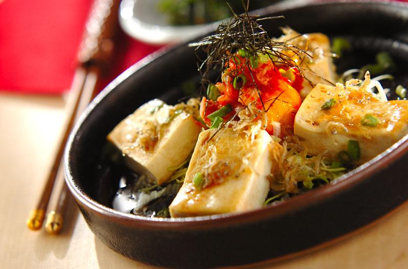 豆腐ステーキキムチのせの作り方の手順
