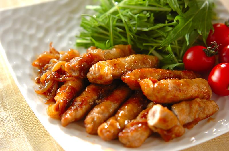 お餅と豚肉のショウガ焼き