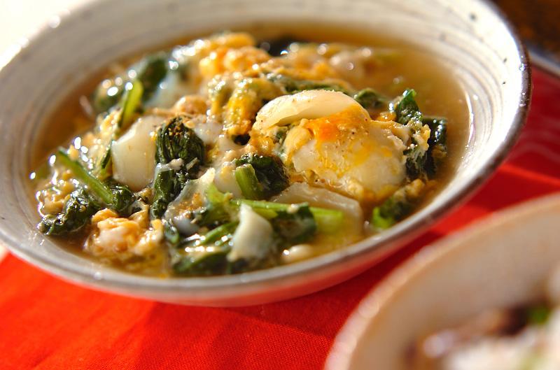 青菜とユリネの卵とじ
