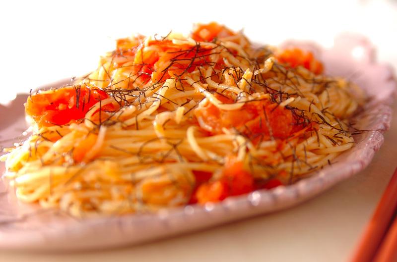 トマトとジャコのパスタの作り方の手順