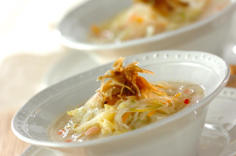 冬野菜の春雨スープ