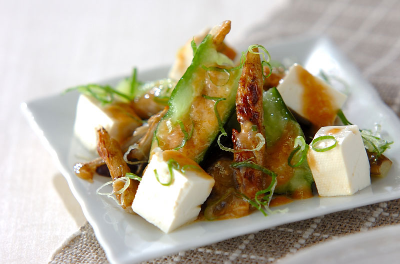 ナスと豆腐のバンバンジー風