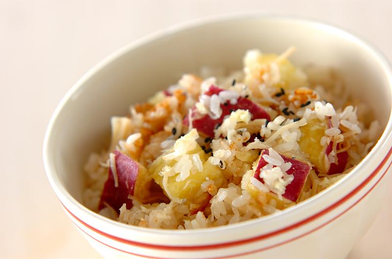もっちりサツマイモご飯の作り方の手順