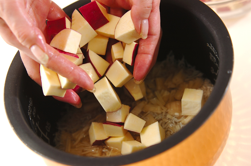 もっちりサツマイモご飯の作り方の手順2