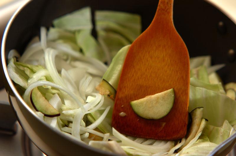 ナスと豚ひき肉のカレー炒めの作り方の手順2