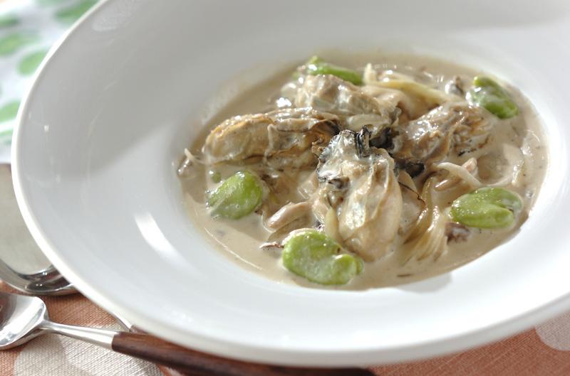 カキとソラ豆のクリーム煮【E・レシピ】料理のプロが作る簡単レシピ/2013.02.28公開のレシピです。