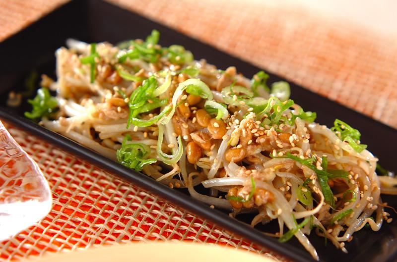 モヤシの納豆炒めの作り方の手順