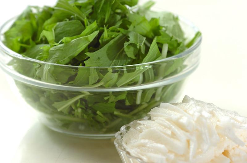 水菜と長芋のサラダの下準備1