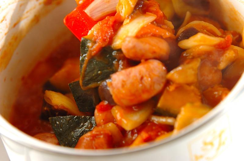 トロトロ卵入り夏野菜のトマト煮の作り方の手順7