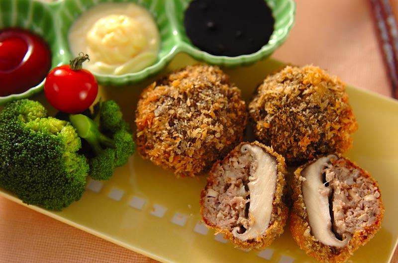 シイタケの肉詰めフライ