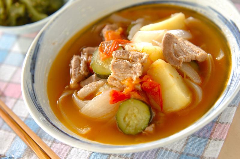 豚バラと夏野菜煮の作り方の手順